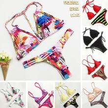 Brazilian Sexy Push Up Triangle Bikini Swimwear Set New 2016 Colorful Printed Handmade Weave Strap Padded Swimsuit Top Set