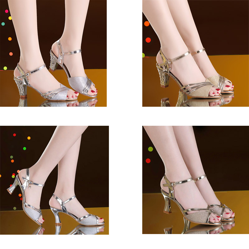 HTB1mq6YaYj1gK0jSZFOq6A7GpXaK Women Sandals 2019 Summer Shoes Woman Dress Shoes Bling Weddging Shoes Silver High Heels Pumps Ladies Shoes zapatos mujer 7217