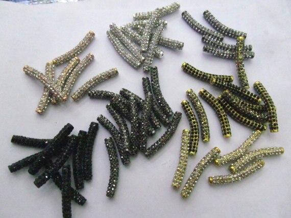 Venta al por mayor de 100 piezas 6x30mm Micro Pave Crystal strass Sideway tubo joyería conector curva Pave Bar joyería ESPACIADOR