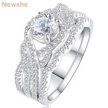Newshe 1 quilate redondo corte CZ sólida plata 925 anillo de boda Set compromiso banda impresionante joyería clásica para las mujeres