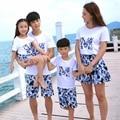 Бесплатная Доставка Летом семьи сопоставления одежда Синий подсолнечника девушки мать отец Мальчиков футболка + Шорты Брюки устанавливает Костюмы