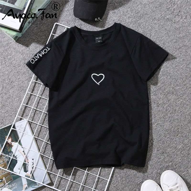 2019 Summer Couples Lovers T-Shirt for Lady Student Casual White Tops Women T Shirt Love Heart Embroidery Print Tshirt Female 4
