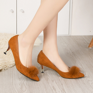 Image 5 - Lucyever 2019 New Shallow Women Pumps Pointed Toe Flock High Heels Ladies Shoes Sexy Thin Heeled Fur Ball Party Shoes Woman