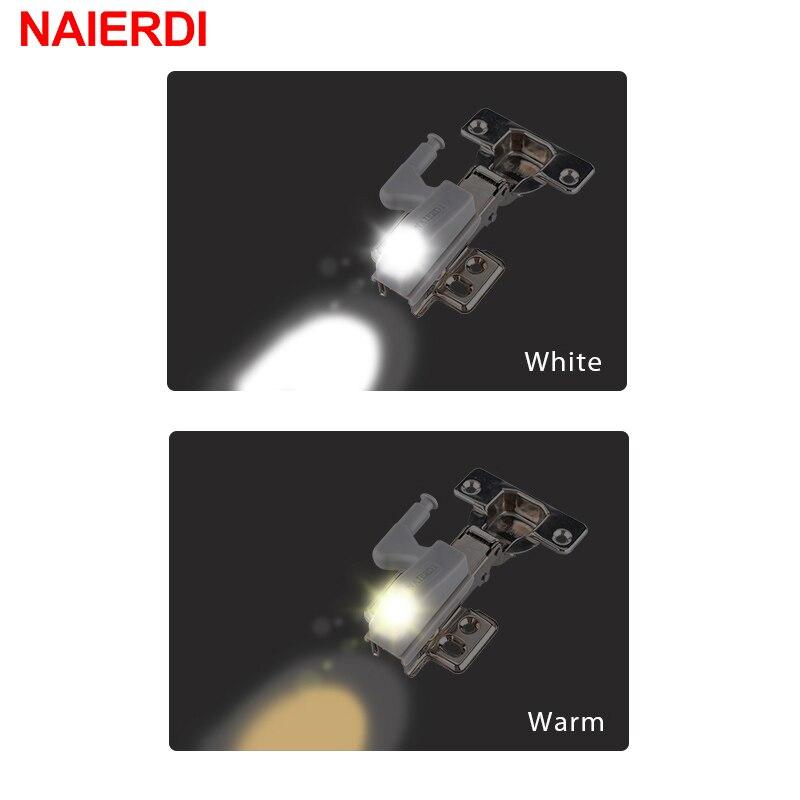 2PCS NAIERDI Universal Hinge LED Sensor Light Cabinet Light Cupboard Inner Hinges Lamp Kitchen Bedroom Wardrobe Night Light