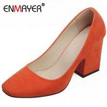 ENMAYER Platform Pumps Orange Green Beige Size34-43 Women High Heels Beige Flock Round Toe Red Bottom Pumps Ladies Wedding Shoes