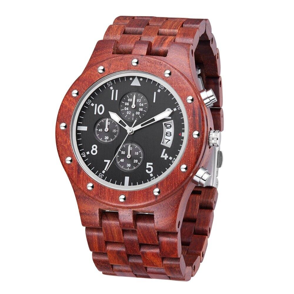 TJW 2018 montre de sport multifonction bois de santal rouge montre de bois de santal montre de sport pour hommes