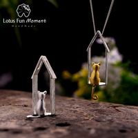 Lotus Fun Moment Real 925 Sterling Silver Handmade Fashion Jewelry Creative Cute Cat Design Pendant without Necklace for Women