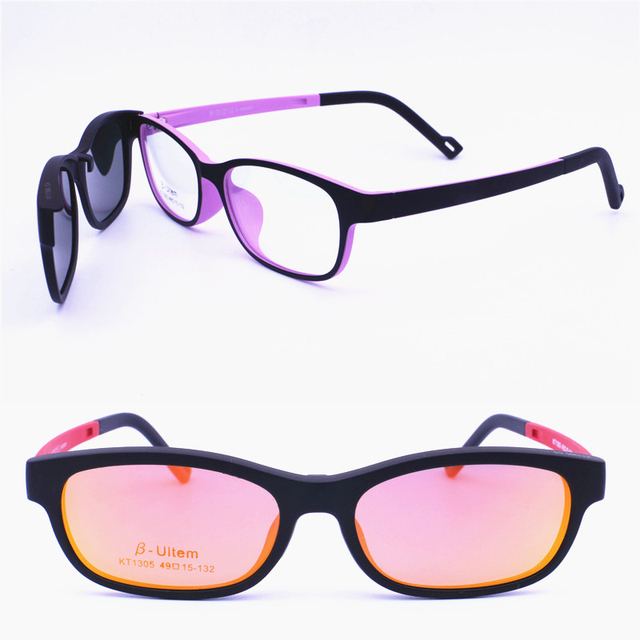 2ede4a742857 Original design 1305 ULTEM rectangle prescription glasses with megnatic  clipping on polarized lenses handy eyewear for teenagers