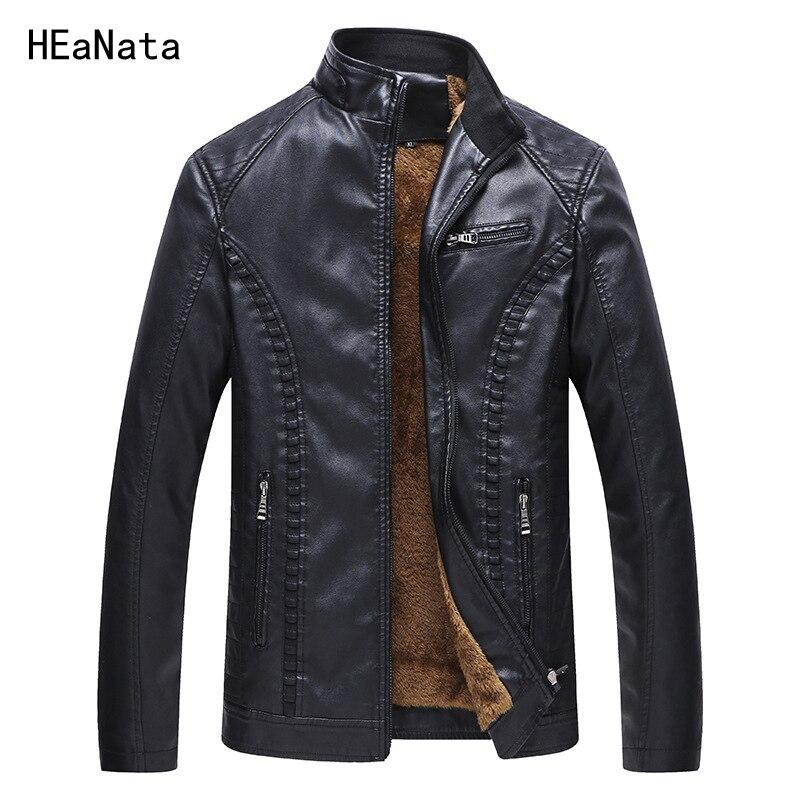 冬の革のジャケットの男性スーパー暖かいベルベットの裏地 PU ジャケット黒/イエロープラスサイズ 6XL ビジネスカジュアルメンズ革コート男性  グループ上の メンズ服 からの フェイクレザーコート の中 1