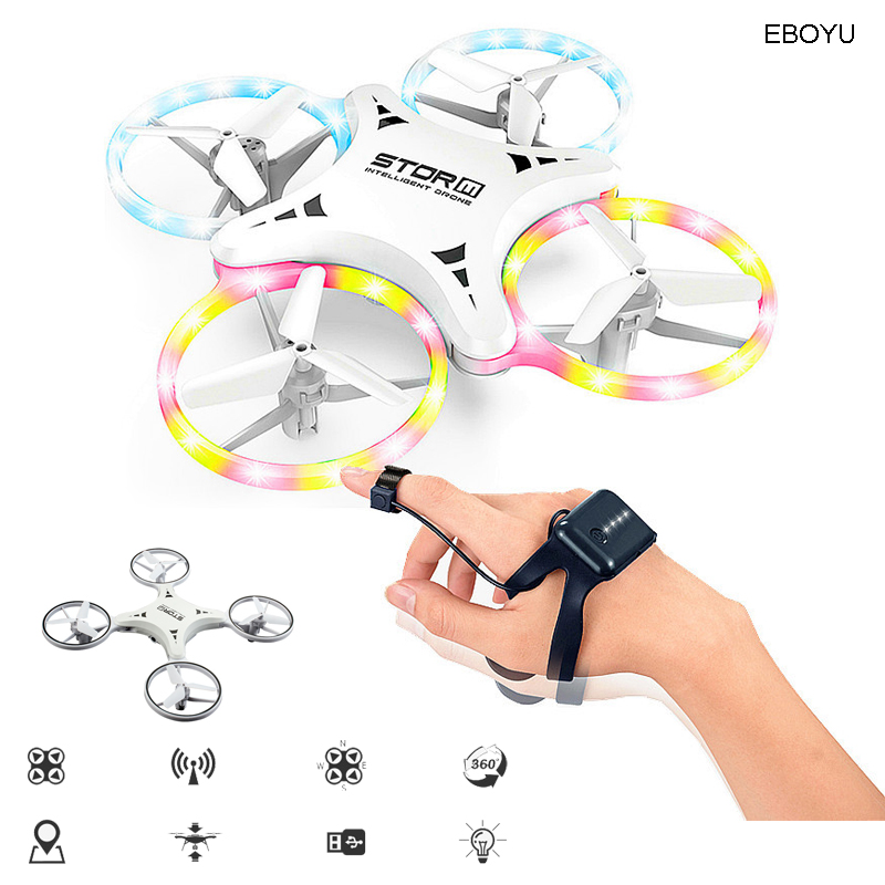 EBOYU 023 RC Drone 2.4Ghz Induction Auto avoid Obstacles RC Quadcopter Drone Novelty Hand Controlled Flying Ball LED Light RTF
