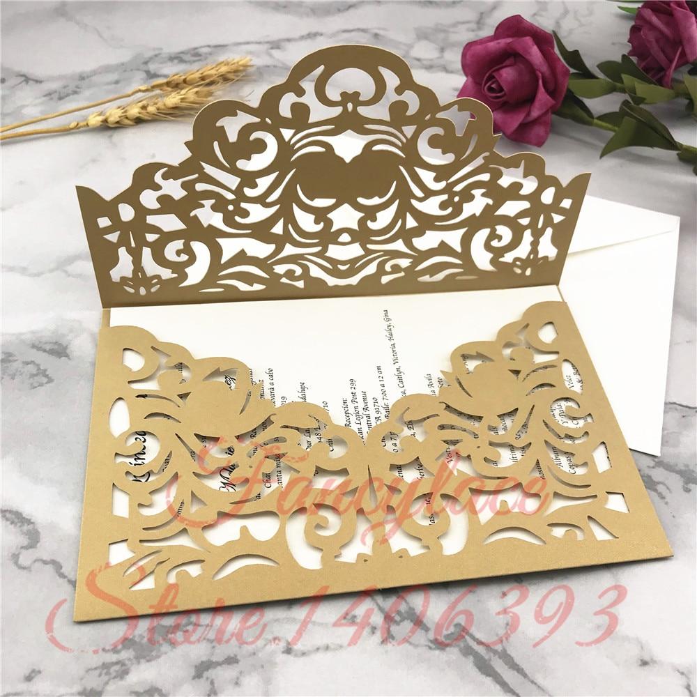 50pcs lot elegant halloween pocketfold Laser Cut Pattern Wedding invitation Cards Paper folded card Greeting cover for party in Cards Invitations from Home Garden