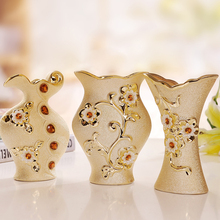 Luxury Morden Gold-plated Ceramic Vase Home Decor Creative Design Porcelain Decorative Flower Vase For Wedding Gift