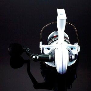 Image 5 - بكرة صيد عالية الجودة من نوع 14BB بكرة دوارة دوارة ذات ذراع دوارة تعمل بالتحكم العددي بواسطة الحاسوب باللون الأبيض بكرة مغذي لصيد الأسماك