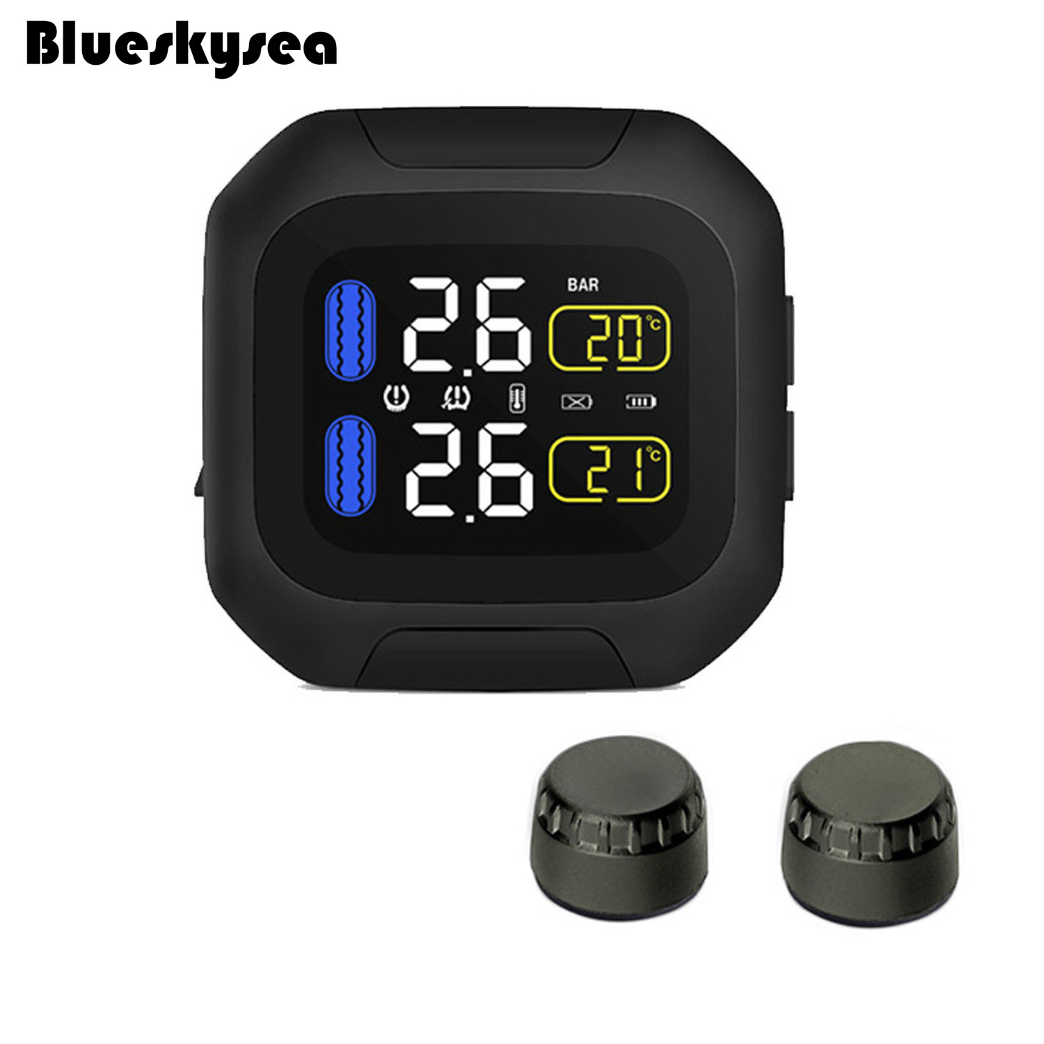 Blueskysea Wireless Motorcycle font b TPMS b font Tire Pressure Monitor Tempreature with External Sensors Waterproof