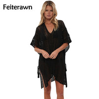Feiterawn Crochet Knitted Tassel Tie Beachwear V Neck Hollow Outsexy Summer Beach Cover Up Loose Dresses