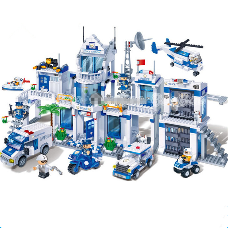 Extra Large Police Station Building Blocks City Police Blocks Compatible with legoe Bricks Educational Car Styling Toys for Kids