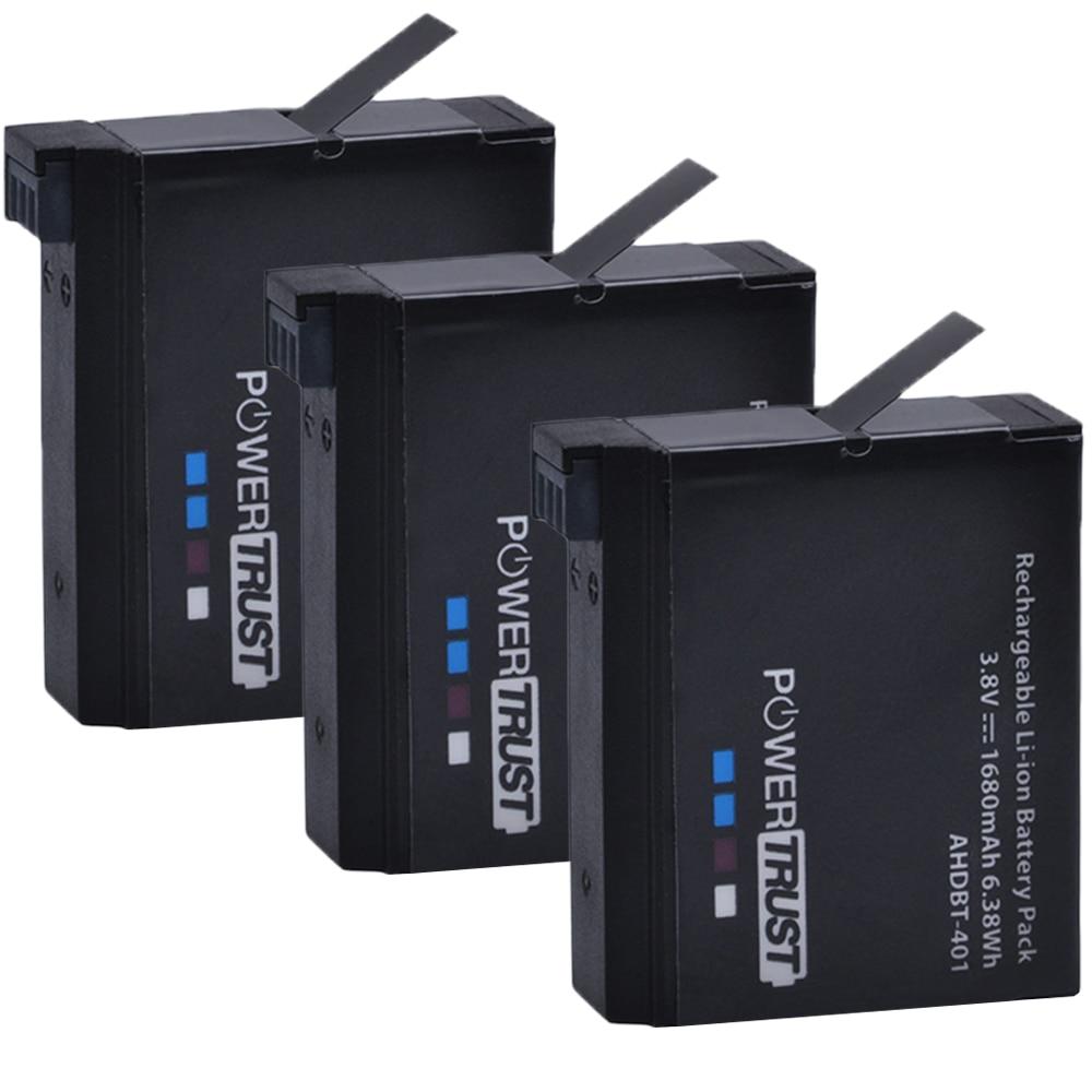 PowerTrust 3Pcs 1680mAh AHDBT-401 AHDBT 401 Battery For Go Pro GoPro 4 Hero 4 Action  Camera Batteries