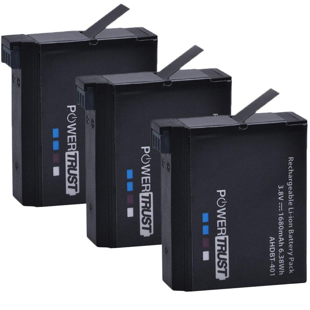 цена на PowerTrust 3Pcs 1680mAh AHDBT-401 AHDBT 401 Battery for Go Pro GoPro 4 Hero 4 action Camera Batteries