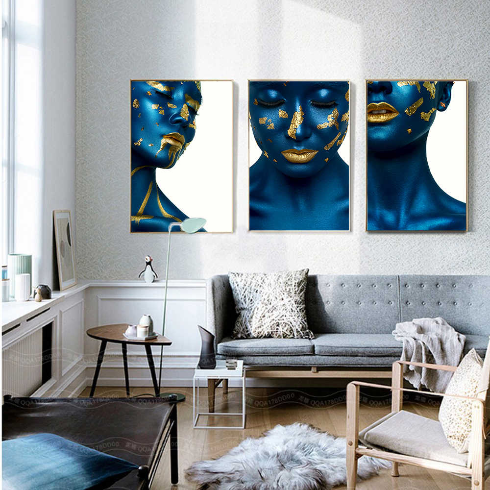 AAHH Posters and Prints Portrait Wall Art Canvas Painting Pictures Blue Skin Gold Lips Woman Model for Living Room Home Decor