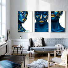 AAHH Posters and Prints Portrait Wall Art Canvas Painting Pictures Blue Skin Gold Lips Woman Model for Living Room Home Decor(China)