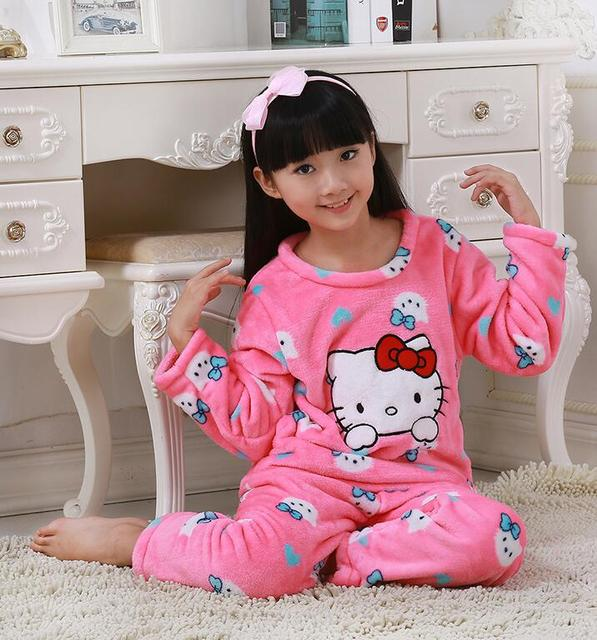 Kids Pajamas set Autumn and Winter Coral fleece warm child sleepwear  Flannel fabric High quality long sleeved Sleeping BING16 80b79cbce
