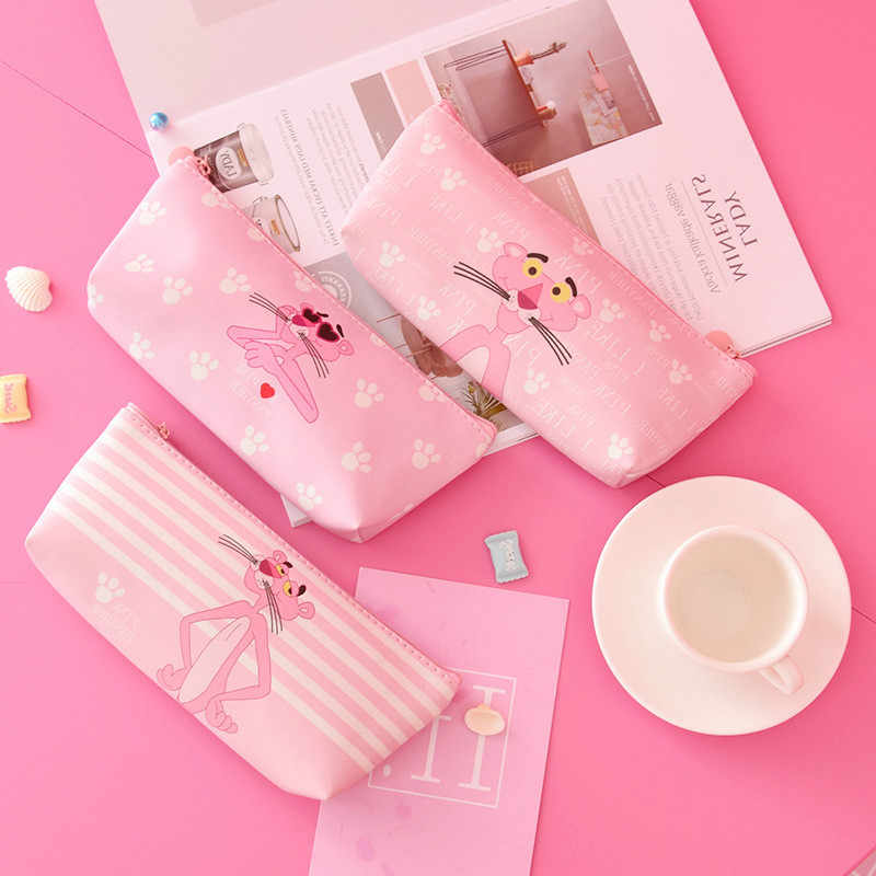 1pcs/sell Kawaii Pencil Case Cartoon cute Pink Panther pattern School office Supplies Stationery student Thanksgiving Gift