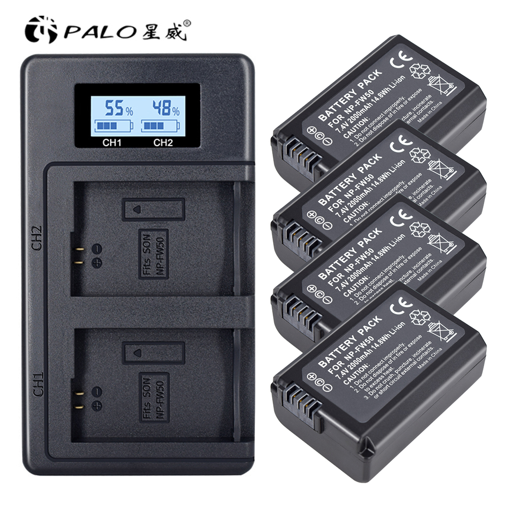 4pc <font><b>NP</b></font>-<font><b>FW50</b></font> <font><b>NP</b></font> <font><b>FW50</b></font> <font><b>FW50</b></font> <font><b>Battery</b></font>+LCD USB Dual Charger for Sony A6000 5100 a3000 a35 A55 a7s II alpha 55 alpha 7 A72 A7R Nex7 NE image