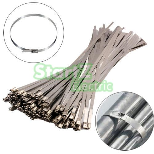 100Pcs 4.6mm x 100mm Stainless Steel Metal Cable Zip Tie Strap Locking Exhaust Pipe Header