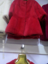 Senior Red blue and white pink rabbit fur coat