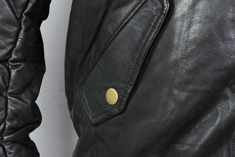 AVIREX FLY Fashion męska kurtka puchowa z prawdziwej skóry kurtka męska czarna kożuch stojak kołnierz kurtka baseballowa płaszcz zimowy dla mężczyzn