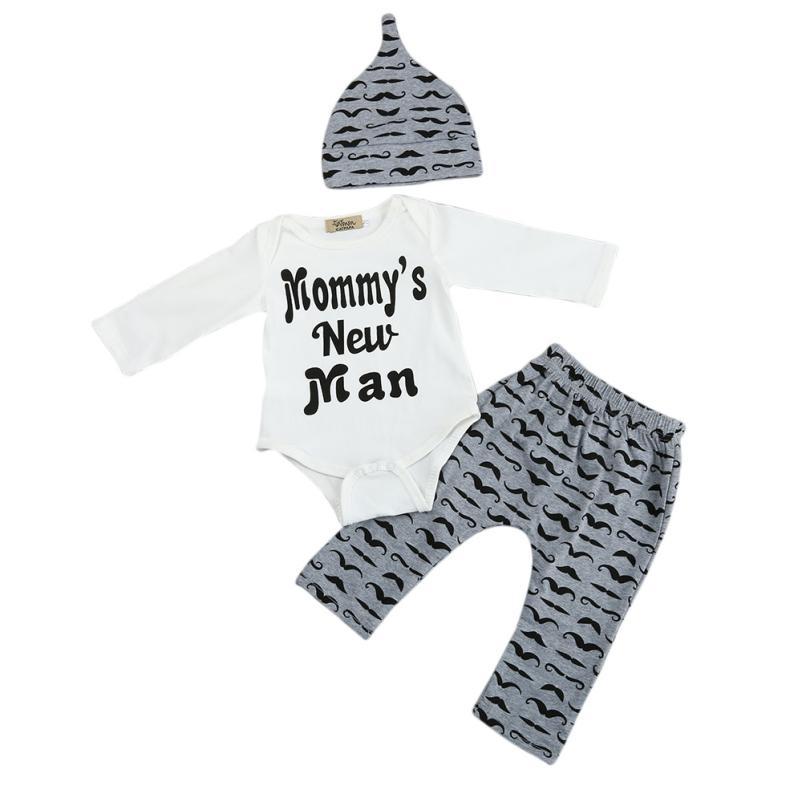 2017 Novo Slatko 3PCS Postavi novorođenče dječak Romper Tops + - Odjeća za bebe