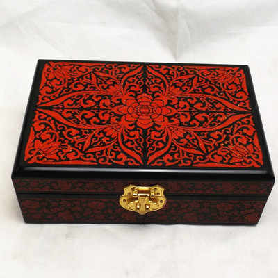 Retro double hand handmade jewelry lacquer jewelry box wood solid wood simple storage box jewelry box 2 layers