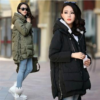 2015 Women Plus Size Winter Down Jacket Military Parka Coat Medium-long Thick Female Hooded Wadded Outerwear Casual Warm