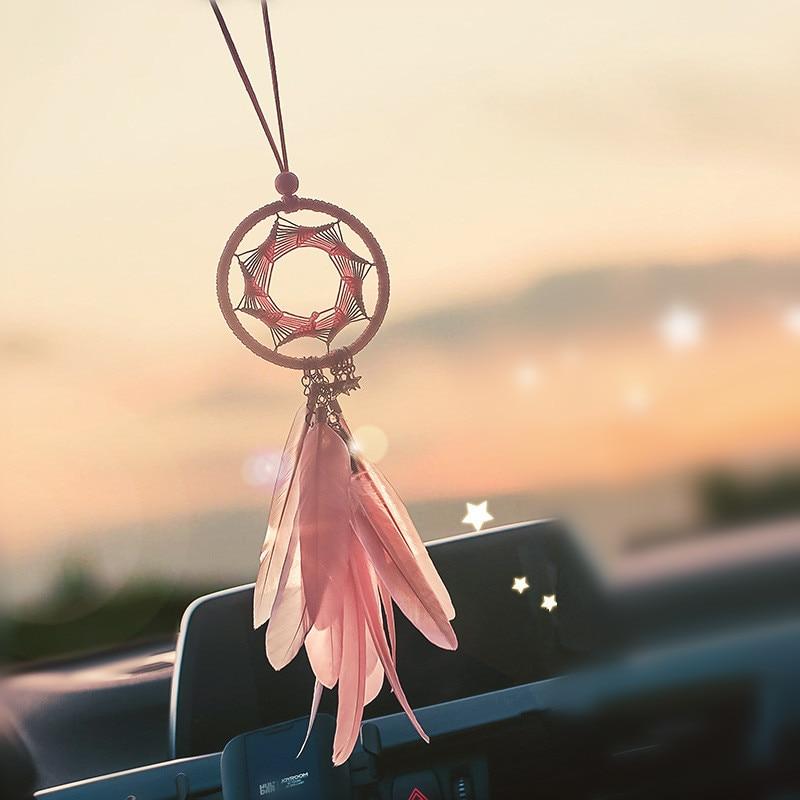 Car Pendant Dream Catcher Hanging Ornament  Feather  Automobiles Interior Dreamcatcher Rearview Mirror Decor Auto Accessories