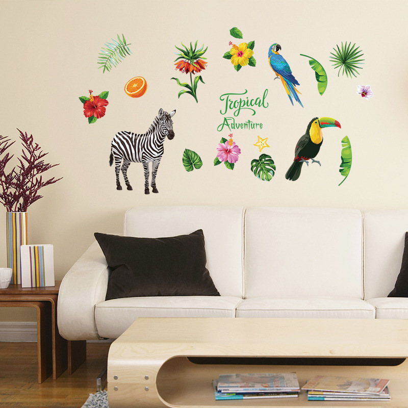 Tropical zebra parrot flamingo plant flower DIY wall sticker home living room bedroom gardening decoration decal on the wall