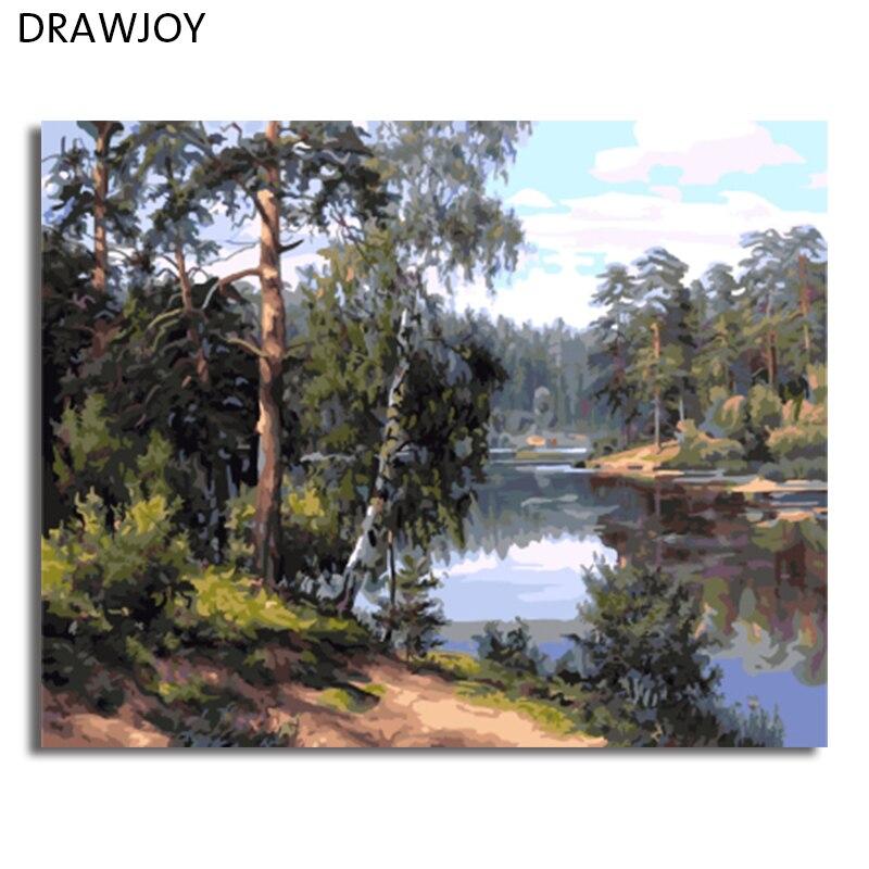DRAWJOY Paesaggio Incorniciato Pittura By Numbers Wall Art FAI DA TE Pittura A Olio Su Tela Home Decor Per Soggiorno GX7799 40*50 cm