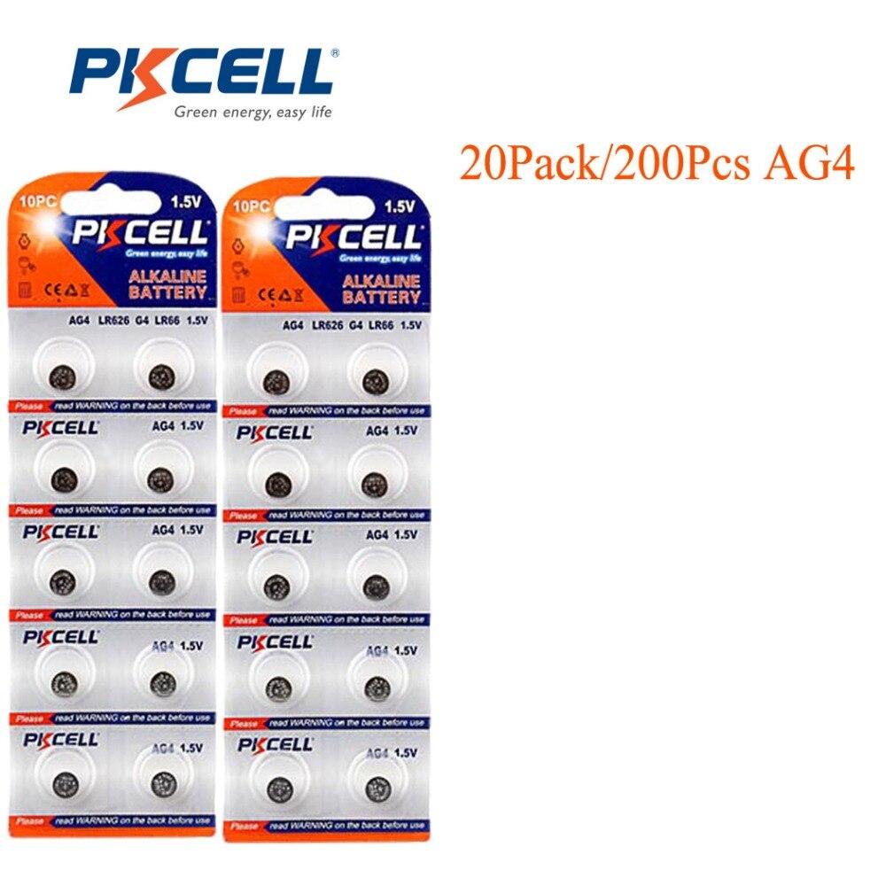 200 Шт./20 карты PKCELL 1.5 В AG4 Батареи Часы Батареи Аксессуары AG4 sr626sw SR626 LR66 177 626 SR66 <font><b>377</b></font> LR626 Кнопки Клетки Монетки