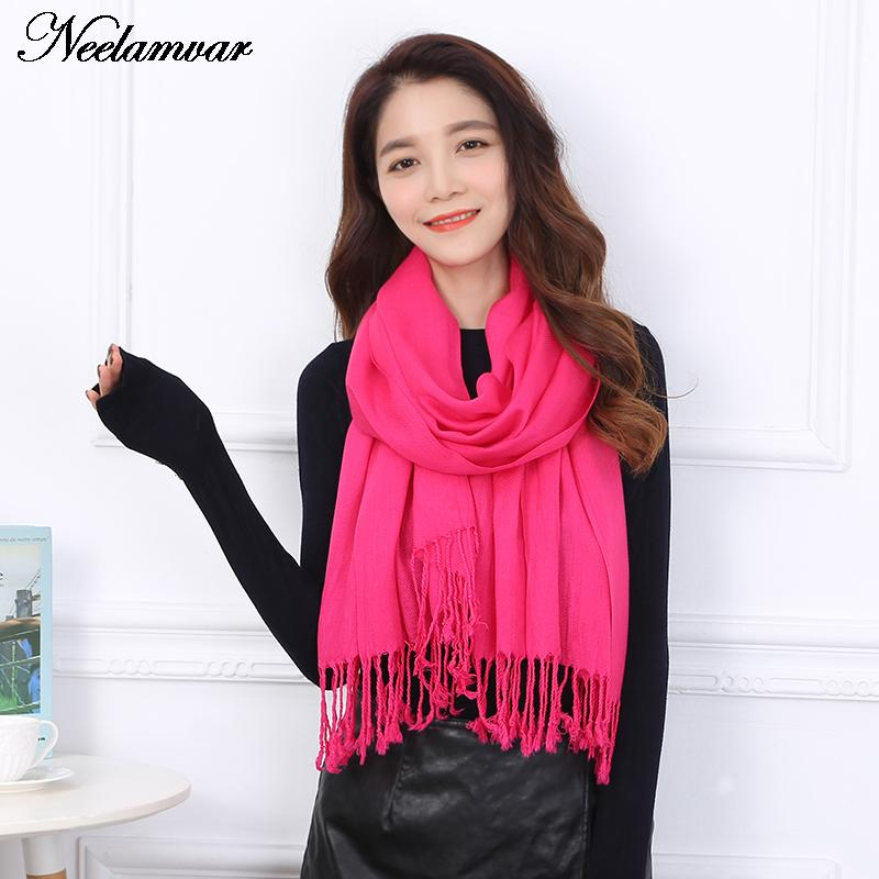 NEW Luxury Brand Women Scarf Soft Twill cotton Warm cape in Winter Fashion solid Shawls gifts 13 colors Wholesale