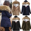 2017 New Women Winter Warm Coat Fur Collar Hooded Long Jacket Slim Fit Cotton Padded Parka Outwears Army Green Thickening Coat