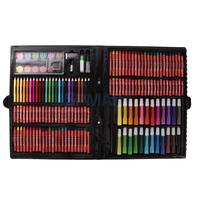 168pcs Kids Drawing Painting Set Color Pencils Pastels Stationery Art Kit with Case