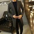 Con estilo Para Hombre de Lana mezcla de lana larga trinchera abrigo Masculino Sola botón Lape chaqueta gruesa Parka Negro Tamaño M-4XL Envío Libre nave