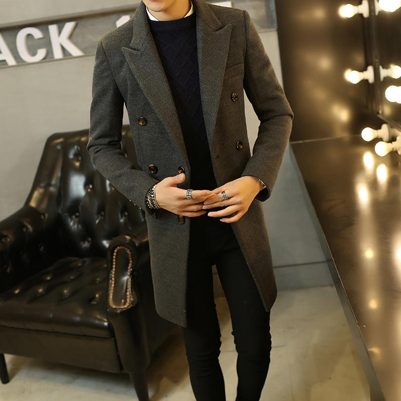 Stylish Mens Woolen long trench coat Male wool blend Single Button Business Parka Lape thick jacket