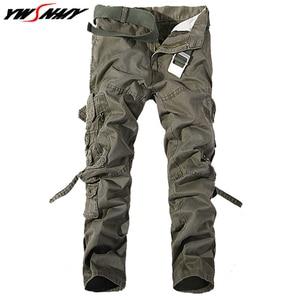 Image 3 - Pantalones Cargo Casual para hombre 2020, pantalones de algodón con bolsillos grandes, pantalones militares holgados, pantalones largos para hombre 28 42 de talla grande