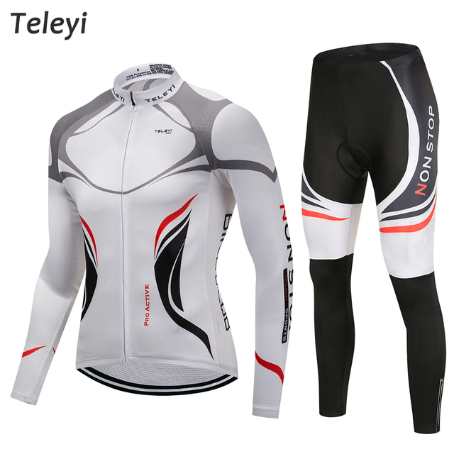 Pro Team Cycling Jersey Long Sleeve Uniforms Set Ropa Ciclismo Jersey MTB Bike Shirts Pad Pants Set Cycling Clothes Black White