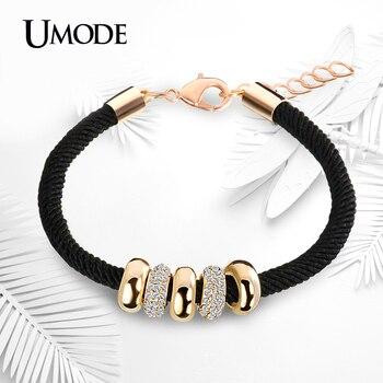 UMODE New Fashion Gold Color Jewelry Austrian Rhinestone Round Circles Pendant Rope Charm Bracelets For Women Pulseiras AUB0074