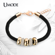 UMODE Fashion Gold Plated Jewelry Austrian Rhinestone Round Circles Pendant Rope Charm Bracelets For Women Pulseiras AUB0074