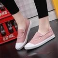 Mujeres de los planos de color sólido slip-on mujeres embarazadas zapatos planos ocasionales de las mujeres los zapatos de lona cómodos zapatos de conducción respirables