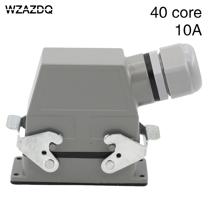 40 core heavy duty connector rectangular h16b-hd-040 industrial waterproof aviation plug socket male bus cold pressure 10A heavy duty connectors rectangular connectors runner connector air plugs hd 040 surface mounted with cover