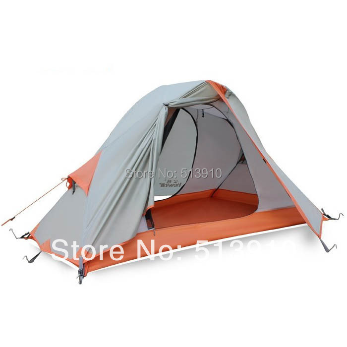 Hewolf Single person double layer ultra light anti rain anti wind camping cycling equipment windproof outdoor travel hiking tent high quality outdoor 2 person camping tent double layer aluminum rod ultralight tent with snow skirt oneroad windsnow 2 plus