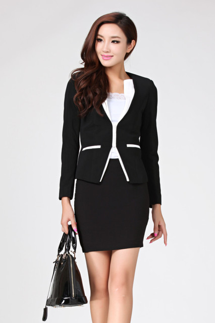 93a17934fd3 Fashion 2013 New fall formal business Lady's skirt suits office ladies coat  and skirt white working black sets free shipping